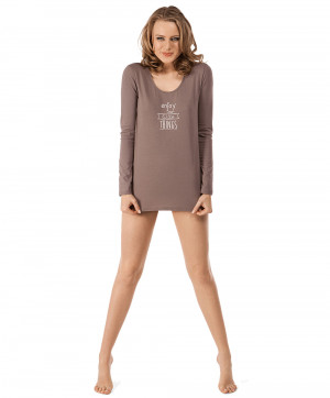 T shirt Manches Longues Warm Taupe Winter Romance Skiny Face S 081828