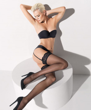 Affaire 10 Stockings Bas Noir Collants et Bas Wolford Face 28057